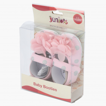 Juniors Printed Baby Booties with Flower Applique