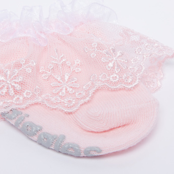 Giggles Lace Embroidered Socks with Frill Detail