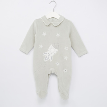 Giggles Embroidered Closed Feet Long Sleeves Sleepsuit