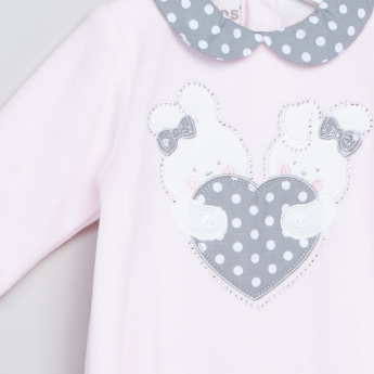 Giggles Printed and Embroidered Closed Feet Sleepsuit