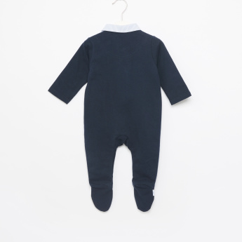 Giggles Navy Closed Feet Sleepsuit