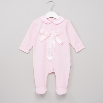 Giggles Bow Detail Closed Feet Sleepsuit