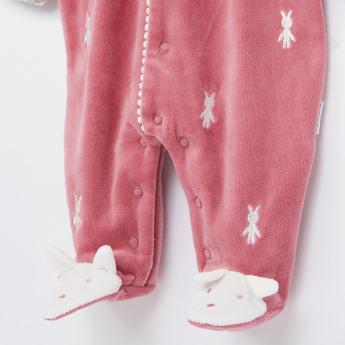 Juniors Applique Detail and Embroidered Closed Feet Sleepsuit