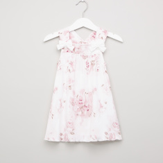 Giggles Floral Printed Dress with Boat Neck and Applique Detail