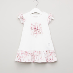 Giggles Floral Printed Dress with Ruffled Cap Sleeves