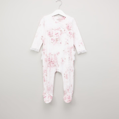 Giggles Floral Printed Sleepsuit with Long Sleeves