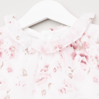 Giggles Floral Printed Sleepsuit with Ruffle Detail
