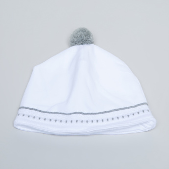 Giggles Embroidered Beanie Cap with Pom-Pom Detail