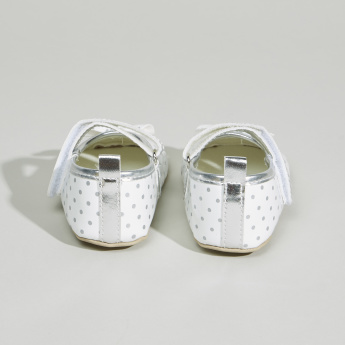 Juniors Printed Bow Detail Booties with Hook and Loop Closure