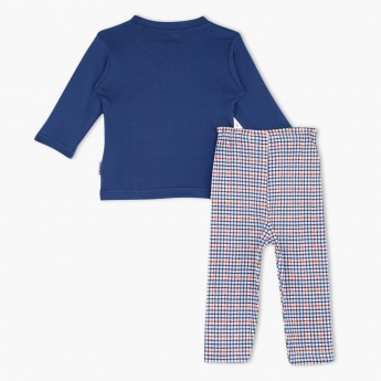 Juniors Printed T-shirt and Chequered Pyjama Set