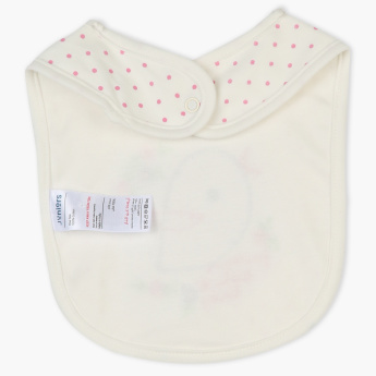 Juniors Printed Bib with Applique Detail and Press Button Closure