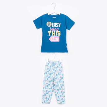 Juniors Printed Short Sleeves T-Shirt and Pyjamas Set