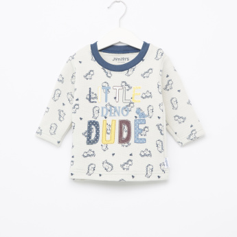 Juniors Printed Long Sleeves T-Shirt and Textured Pyjama Set