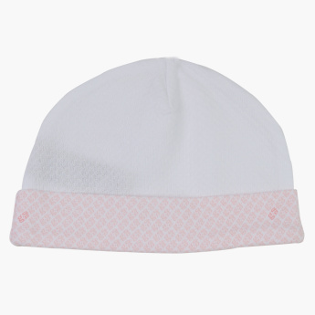 Giggles Printed Beanie Cap with Bow Detail