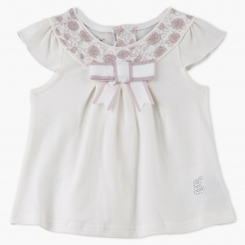 Giggles Cap Sleeves Printed Dress with Bow Applique