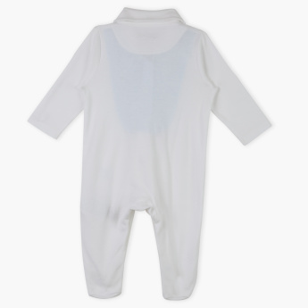 Giggles Bow Detail Long Sleeves Sleepsuit