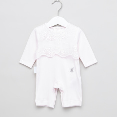 Giggles Lace Overlay Sleepsuit