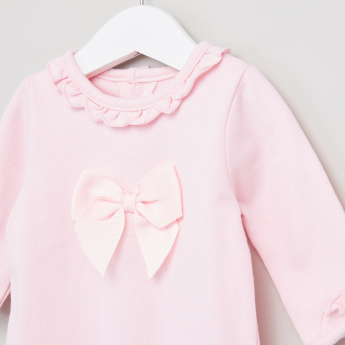 Giggles Frill and Bow Detail Closed Feet Sleepsuit