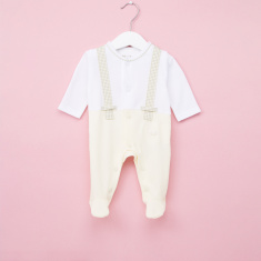 Giggles Chequered Long Sleeves Closed Feet Sleepsuit
