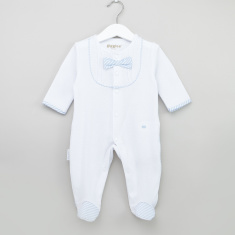 Giggles Closed Feet Cotton Sleepsuit with Bow Detail