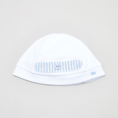 Giggles Textured Beanie Cap with Striped Panel
