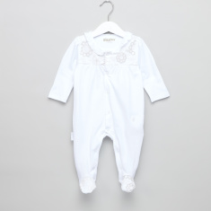 Giggles Embroidered Yoke Closed Feet Sleepsuit