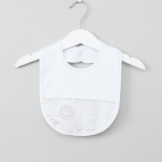 Giggles Floral Detail Bib with Snap Closure