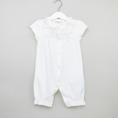 Giggles Embroidered Romper with Cap Sleeves and Cuffed Ankles