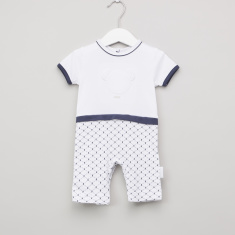 Giggles Andy Printed Romper with Short Sleeves