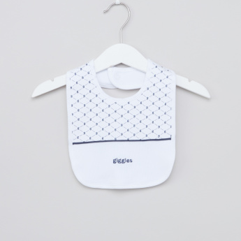 Giggles Printed Bib with Snap Button Closure