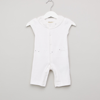 Giggles Textured Romper with Collar and Embellished Detail