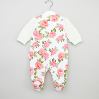 Juniors Floral Printed Sleepsuit with Applique