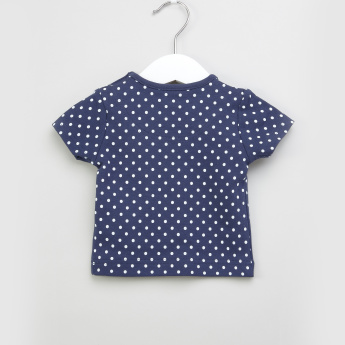 Juniors Printed T-Shirt with Dungarees