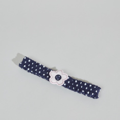 Juniors Dot Printed Headband with Floral Applique