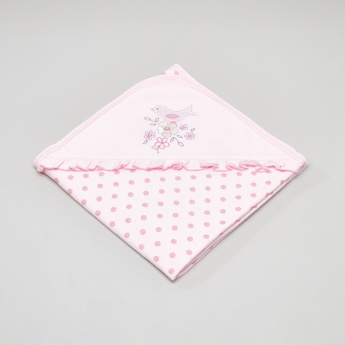 Juniors Printed Frill Detail Receiving Blanket - 75x100 cms