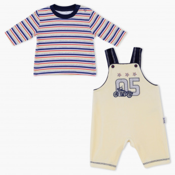 Juniors Printed T-Shirt and Dungaree Set