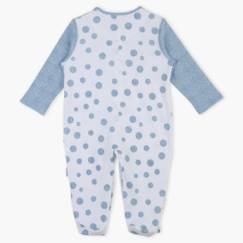 Juniors Polka Dot Printed Round Neck Long Sleeves Sleepsuit