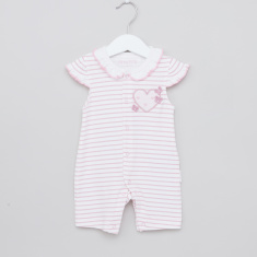 Juniors Striped Romper with Cap Sleeves