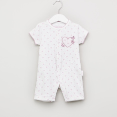 Juniors Printed Bow Romper with Short Sleeves