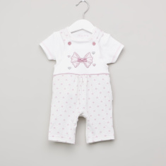 Juniors Printed T-shirt and Dungarees Set