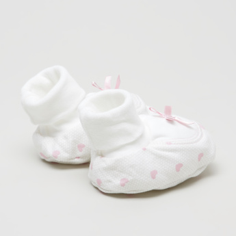 Juniors Printed Baby Booties with Bow Applique Detail