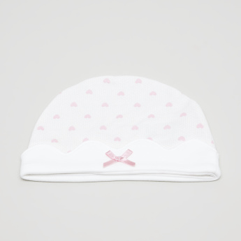 Juniors Printed Cap with Bow Detail