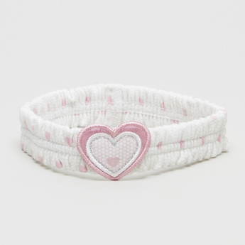 Juniors Bow Printed Hair Band with Heart Applique