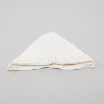Juniors Bonnet with Striped Hem and Tie-Up