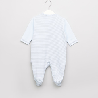 Juniors Striped and Embroidered Closed Feet Sleepsuit