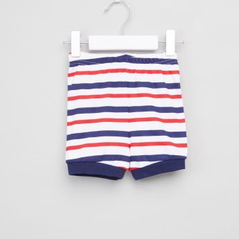 Juniors Printed Short Sleeves T-Shirt with Striped Shorts