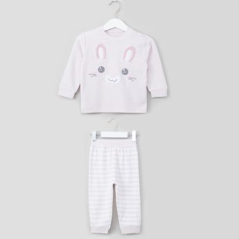 Juniors Embroidered Applique Detail Sweatshirt with Striped Jog Pants