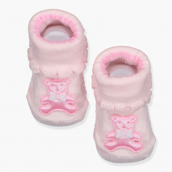 Juniors Booties with Teddy Bear Applique