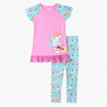 Juniors Printed Top and Leggings Set