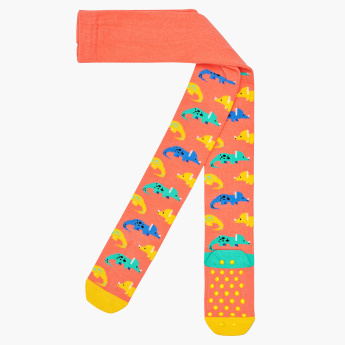 Happy Socks Dinosaur Printed Tights with Anti-Slip Closed Feet
